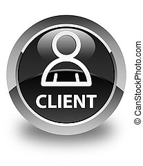 Client (member icon) glossy black round button