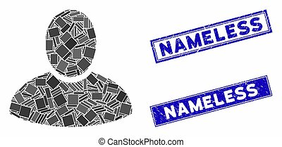 Mosaic client pictogram and rectangular Nameless stamps. Flat vector client mosaic pictogram of scattered rotated rectangular elements. Blue Nameless rubber stamps with distress texture.