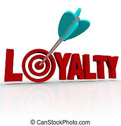 client, mot, loyauté, réputation, flèche, 3d