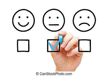 client, moyenne, concept, enquête, réaction