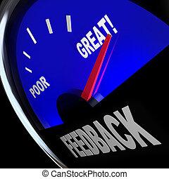 client, opinions, réaction, comments, revues, jauge, carburant