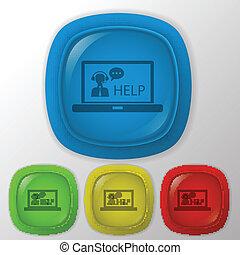 client, ordinateur portable, soutien