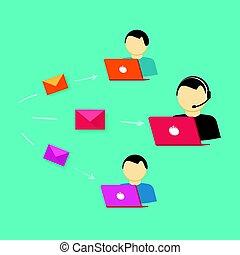 client, ordinateurs, service, aide, ordinateur portable, internet, système, ou, vecteur, ligne, équipe, soutien, opérateurs, assistance
