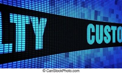 client, pannel, mené, mur, texte, loyauté, panneau signe, défilement, exposer, côté