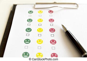 client, pen., évaluation, enquête, service