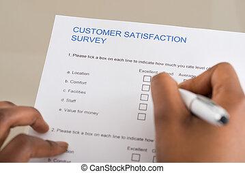 client, personne, remplissage, satisfaction, formulaire