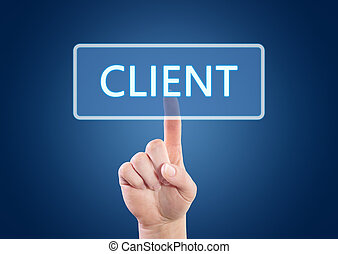 Client - Hand pressing Client button on interface with blue...