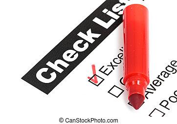 client, placé, tique, checkbox, excellent