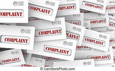 client, plainte, réaction, fâché, illustration, enveloppes, 3d