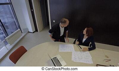 client, plan, bureau, house., projet, architecte, sien, came