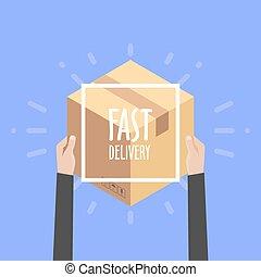 client, plat, concept, courrier, coloré, paquet, service, illustration, livraison, vecteur, conception, e-commerce, achats en ligne, réception