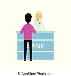 client, plat, directeur, finance, gens, bureau., argent., jeune, illustration, debout, desk., vecteur, caractères, réception, girl, dessin animé, banque, homme