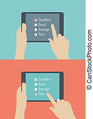 client, plat, réaction, service, illustration, ligne