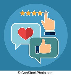 client, plat, style, ensemble, service, soutien, -, réaction, vecteur, enquête