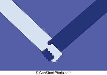 client, poignée main, vendeur