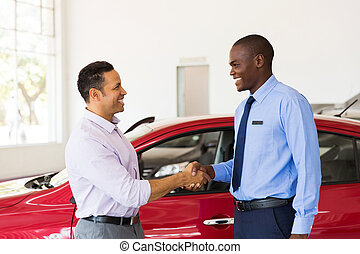 client, poignée main, voiture, américain, africaine,...