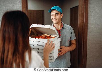 client, porte, livreur, spectacles, pizza