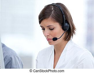 client, portrait, brunette, travail, agent