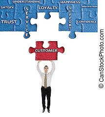 client, puzzle, homme, mot, mains