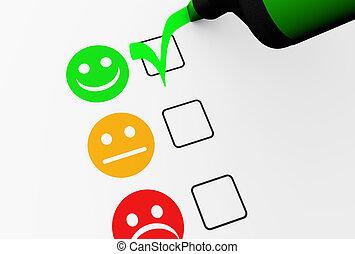 client, réaction, business, liste contrôle, qualité, heureux