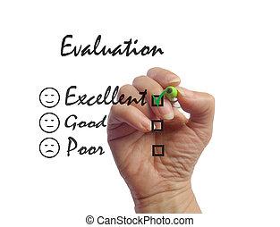 client, réaction, evaluation., signe, enquête, excellent