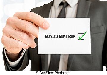 client, -, réaction, satisfait