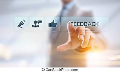 client, réaction, service, revue, satisfaction, testimonials, business, concept.