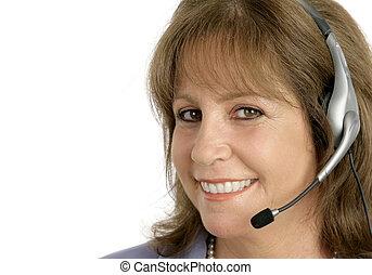 client, représentant, closeup, service