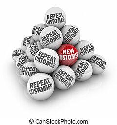 client, reprise, commercialisation, balle, client, pyramide, publicité, nouveau