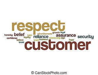 client, respect, mot, nuage