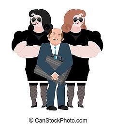 client, sécurité, work., hands-free., équipe, professionnel, homme affaires, arrière-plan., vip, protection, noir, protection., femme, complet, wooman, blanc, fort, dame, bodyguards.