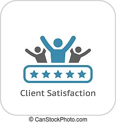 Client Satisfaction Icon. Flat Design. - Client Satisfaction...