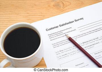 client, service café, formulaire, tasse, satisfaction, enquête