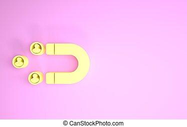 client, service., icône, 3d, rétention, gens, render, minimalisme, soutien, isolé, jaune, illustration, concept., magnet., arrière-plan., attirer, rose