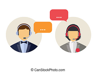 Client services - Call center operator with headset web...