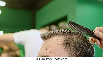 client, styliste, peignes, cheveux, plastique, outillage, ...