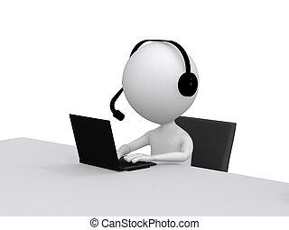 client, support., peu, ecouteurs, ordinateur portable, caractère, informatique, humain, 3d