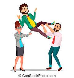 client, tête, sien, tenue, business, sur, isolé, illustration, client, soutien, vector., complet, employé, heureux