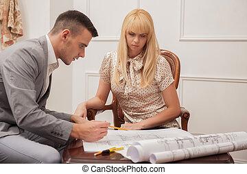 client, terrestre, beau, plan, discuter, architecte, sitt, jeune