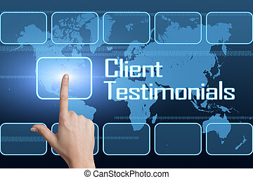Client Testimonials concept with interface and world map on ...