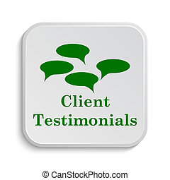 Client testimonials icon. Internet button on white ...