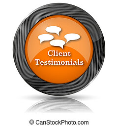 Client testimonials icon - Shiny glossy icon with white ...