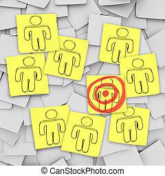 client, visé, notes, centre, -, collant