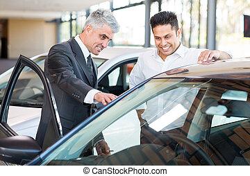 client, voiture, projection, vendeur, nouveau