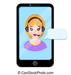 client., wykres, operator, online