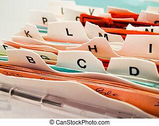 cliente, índice, alfabético, abc, datos, tarjetas.