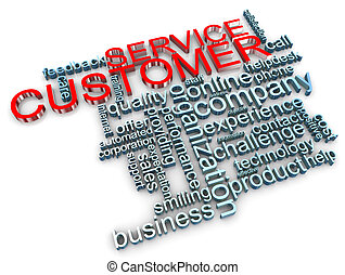 cliente, 3d, servizio, etichette