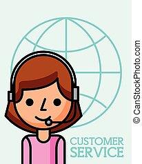 cliente, affari donna, servizio, operatore, mondo