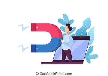 cliente, affari tela, marketing, concept., magnete, attrarre, bandiera