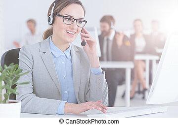 cliente, agente, centro chiamata, servizio